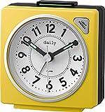 リズム時計 目覚まし時計 アナログ 小さい かわいい デイリーRA27 連続秒針 ライト 付き カラフル 時計 黄色 DAILY (デイリー) 8REA27DN33