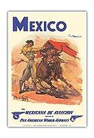 メキシコ - 準メキシカナ航空 - パンアメリカン航空 - 闘牛士 - ビンテージな航空会社のポスター によって作成された カルロス・ルアノ・ロピス c.1950 - アートポスター - 33cm x 48cm