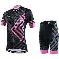LSERVER 半袖 サイクルジャージ 上下セット レディース 自転車ウェア 3D立体パッドパンツ 吸汗 速乾 通気 レーサーウェア 上着 サイクリングウェア 春夏 女性用 色選択可
