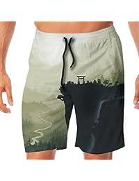 メンズ水着 ビーチショーツ ショートパンツ 山 スイムショーツ サーフトランクス 速乾 水陸両用 調節可能