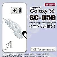 SC05G スマホケース Galaxy S6 カバー ギャラクシー S6 イニシャル 翼(ペア) 白(左) nk-sc05g-788ini P