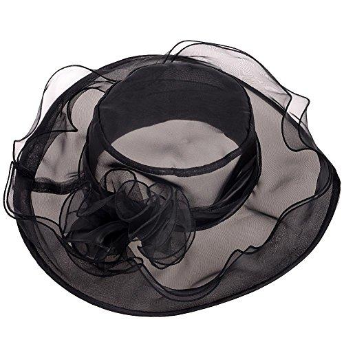 VBIGER レディース つば広ハット UVカット帽子 春夏 紫外線 日焼け対策 小顔効果 女優帽 (ブラック)