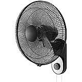 壁掛け扇風機、3速設定|マウサー日本スイング/回転50W電源、2サイズ(ブラック) (サイズ さいず : 16 inches)