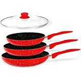 Red Stone Magic Ceramic Marble Stone Coat Cookware Frypan Set/non-stick Coating