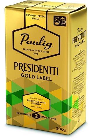 PAULIG PRESIDENTTI パウリグ プレジデント ゴールド ラベル コーヒー 500g 8袋 (4kg) PAULIG - Presidentti Gold Label フィンランドのコーヒーです [並行輸入品]