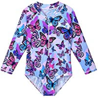 ZNYUNE Girls One Piece Rashguard Swimwear Long Sleeve Swim Suit with Zipper UPF 50+ Sun Protection