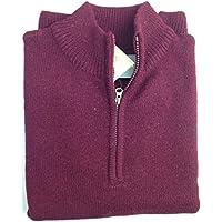 jacksmith Men's Shetland Wool 1/4 Zip Up Cardigan Sweater Knitted Jumper Pullover (XX-Large, Burgundy)