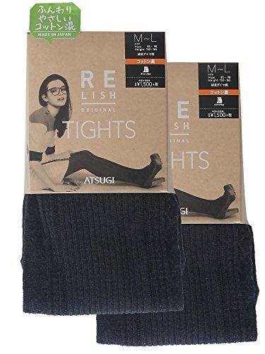 (アツギ)ATSUGI タイツ RELISH ORIGINAL (レリッシュ オリジナル) 綿混 ダイヤ柄タイツ 400デニール相当 〈2足組〉 BL1552 601 ブラキッシュネイビー M~L