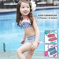 チェック柄がとってもキュート ビキニタイプ キッズ水着 水着とおそろいのキャップ付 (#1ブルーxピンク, L)