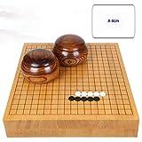 RACHELLE Yunzi Go チェスセット 無垢材彫刻 両面チェスボード 無垢材タンク付きニューユンジ (色:A、サイズ:8cm)
