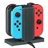 Nintendo Switch 充電器【Mothca】 4in1 Nintendo Switch Joy-Con コントローラー 充電スタンド 4台同時充電 二つ充電式 チャージャー 任天堂 スイッチ Joy-Con グリップ 縦置き 充電器 充電ホルダー 充電指示ランプ付き グレイ