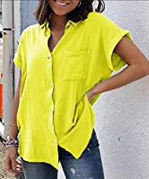 maweisong レディースサマーボタンダウンシャツ Yellow XS