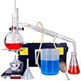 15pcs Full Set 500ml New Lab Distillation Apparatus Essential Oil Pure Water Distiller Glassware Kits w/Thermometer Condenser Pipe