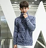 M L 青 灰色 mtop-2 ニット タートル ネック 編み セーター カーディガン (L, ブルー)