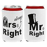 ノーブランド品 缶カバー 結婚式 クーリー 「Mr and Mrs Right」ブライダル シャワー スリーブホルダ