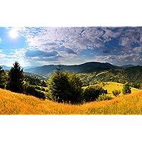 ウクライナ、カルパチア、草、木、山、雲、日 キャンバスの 写真 ポスター 印刷 旅行 風景 景色 - (105cmx70cm)