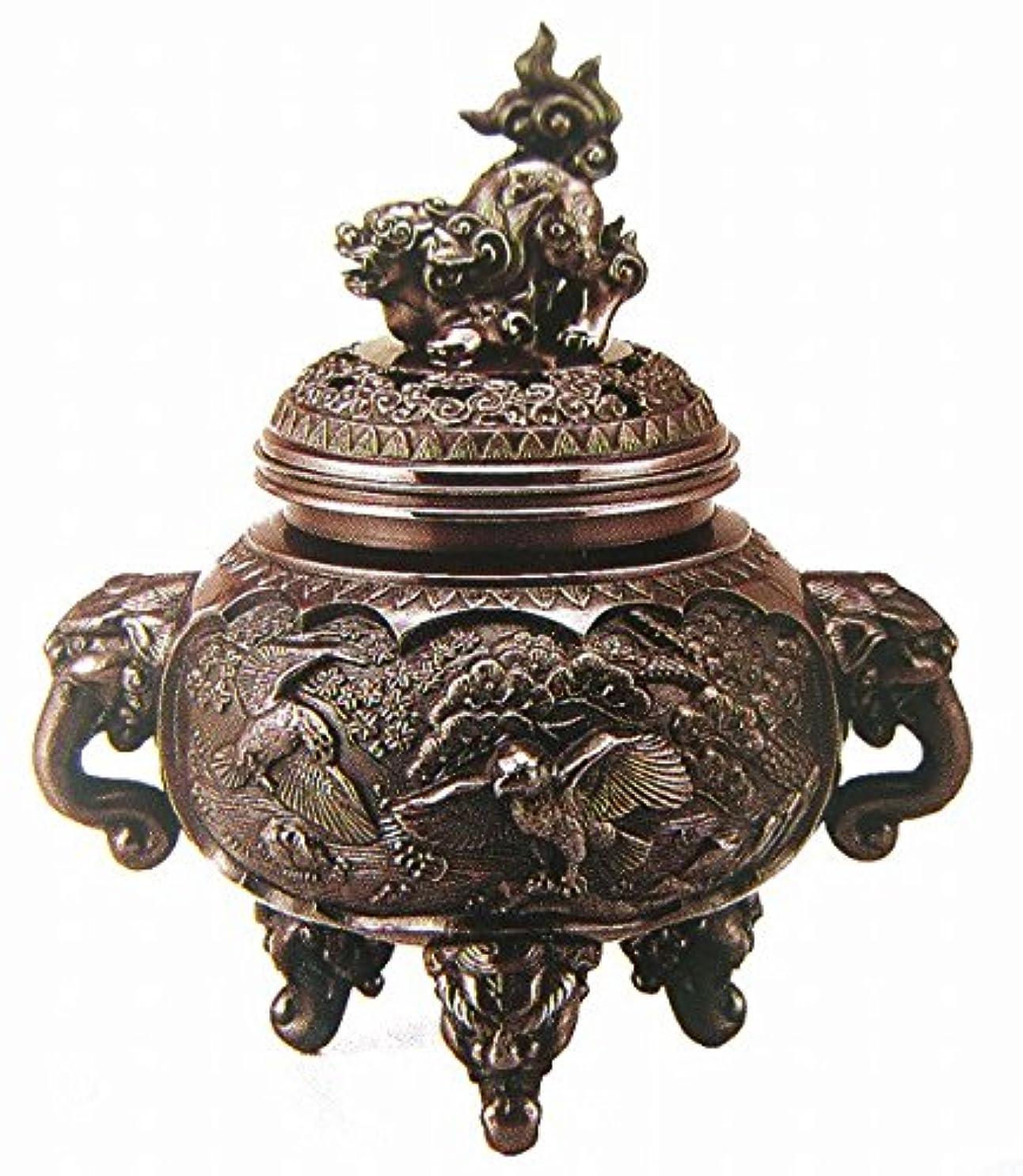 不満霧深い哺乳類『新特大花鳥香炉』銅製