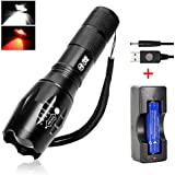 Red LED Torch White & Red Light Night Vision Flashlight Super Bright 1000 Lumen Zoomable Military XML T6 Handheld Torch Lampe w' Bonus Advanced 18650 Rechargeable Battery (AU Stock)