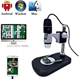 USB Digital Microscope Camera, Jiusion 40 -1000X Portable Magnification Endoscope 8pcs LED with Adaptor Professional Stand, Compatible with Mac Window XP 7 8 10 OTG Android
