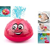 Bath Toys Bathroom Toys with Music & Lamp Electric Automatic Induction Water Jet Bat Water Toy(Pink)
