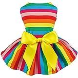 Fitwarm Rainbow Pet Clothes Dog Dresses Vest Shirts Sundress Large