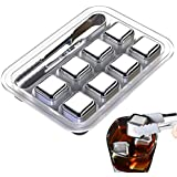 Whiskey Stones Gift Set with 8 Stainless Steel Ice Cubes, Reusable Stainless Steel Chilling Rocks & Tongs, Gift Box Packaging