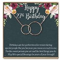 Dear Ava 27歳の誕生日ギフトネックレス 誕生日ギフト 彼女へのジュエリーギフト 2つのインターロックサークル