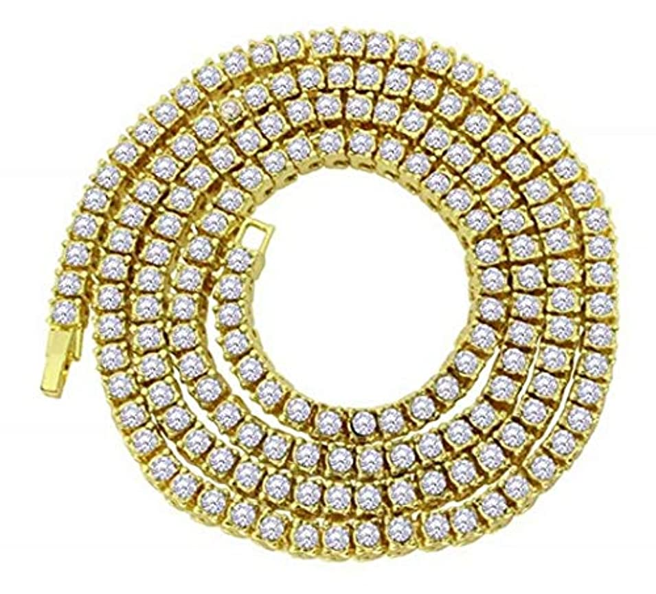 編集するリボンおなかがすいた七里の香 18 Kゴールドメッキ1行 ダイヤモンド アイスアウト チェーンマクロ CZヒップホップテニスネックレス ゴールド