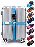Love Berry ラブベリー スーツケース ベルト 海外旅行 TSA 安心 安全 十字 クロス ロック付き 鍵付き アメリカ (フリーサイズ, ライトブルー)