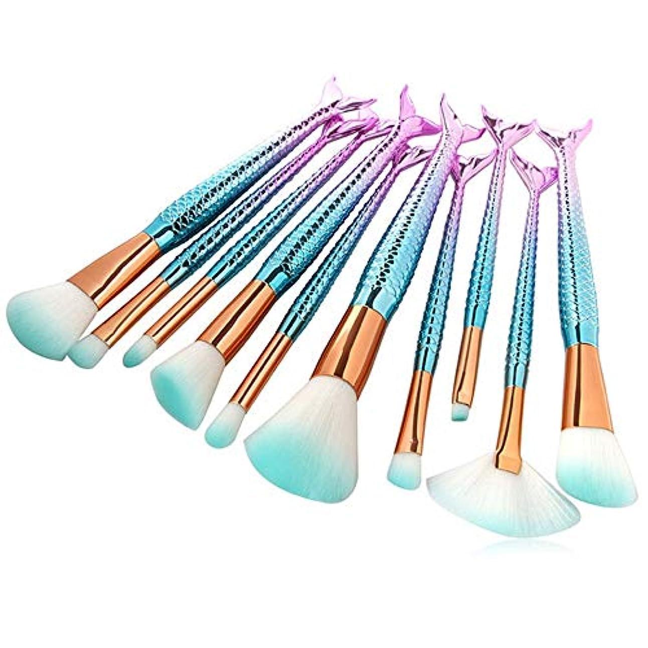 感謝祭せっかちオールMakeup brushes 10個マーメイドブラシメイクアップキット美容ツールフィッシュテールカブキブラシクリーナーレインボーアイシャドウブラッシュパウダーフェイスブラシリグ suits (Color : Blue Gradient)