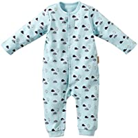 Baby Nest ベビー服 ロンパース カバーオール 前開き 男の子 長袖 野球帽柄 コットン100% ブルー 6-9M