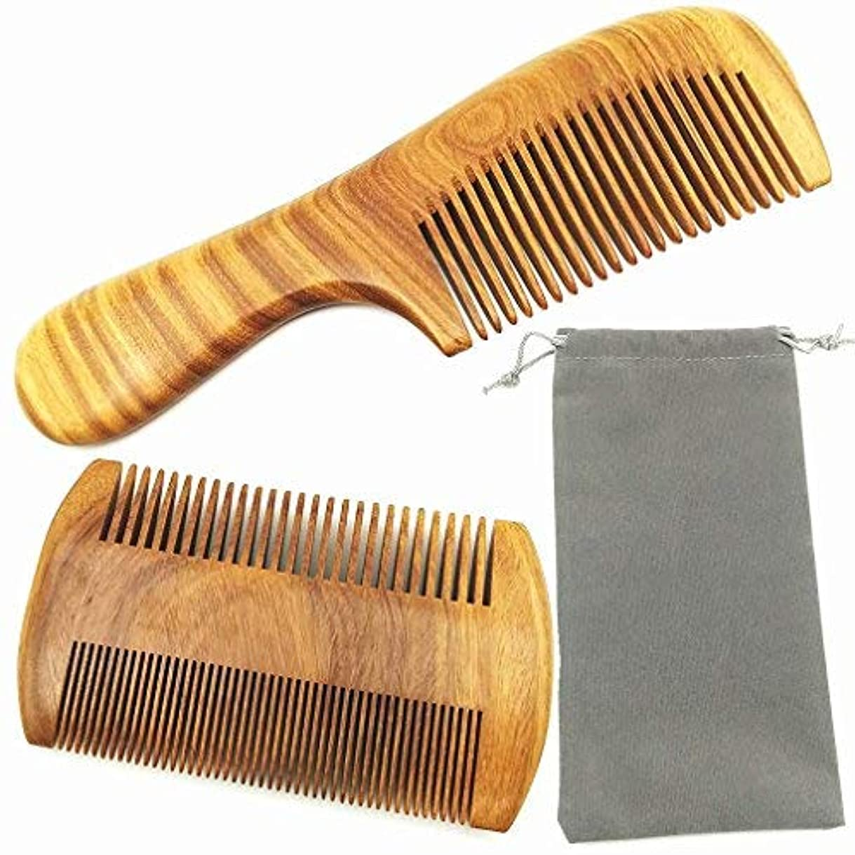 別の細心のデータベースHair Combs ? Handmade Natural Aroma Green Sandalwood Wooden Comb Set - No Static Fine Sides & Wide Tooth Hair...