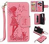 Yiizy LG K7 X210 MS330 ケース 手帳型 ガール エンボス加工 カバー 本革ソフトレザー 対応 ケース カードポケット スタンド機能 マグネット式 財布型 カバー (ピンク)