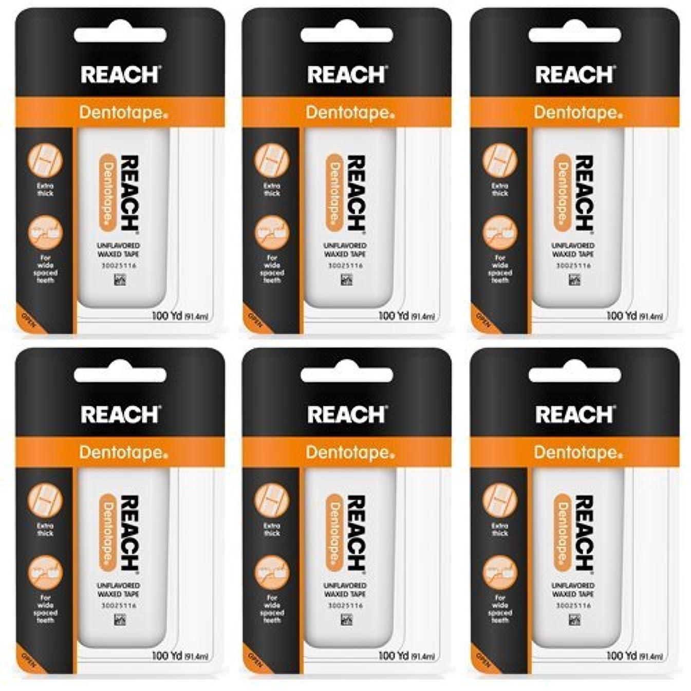 シャッフルパール植物学REACH Dentotape Waxed Tape, Unflavored 100 Yards 6 pack (91.4 m) [並行輸入品]