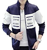 【 Smaids×Smile 】 スタンドカラー ツーカラー ロゴ スポーティー ブルゾン メンズ 長袖 切替 襟 ( ネイビー , M )