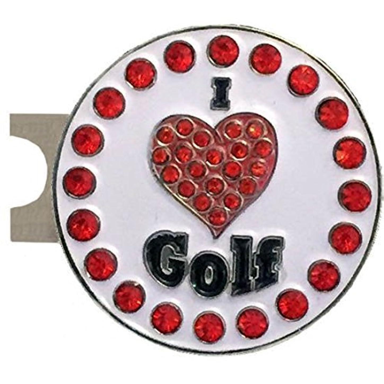 血まみれのアクティブポルティコGiggle Golf 「I Love Golf」 キラキラで赤色のゴルフボールマーカー 標準ハット用クリップ付き