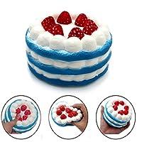 ふわふわケーキ ジャンボ ゆっくり形が戻る ストロベリークリームの香り ストレスを軽減するおもちゃ 4.53インチ ブルー