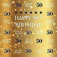 Qinunipoto 妻50歳の誕生日背景布 写真撮影用 を祝う黄金色の写真の背景母50歳の誕生日おめでとう背景 装飾用 無反射布 写真を撮るお祝いパーティーポートレート写真スタジオブース背景小道具ビニール 1.5m x 1.5m