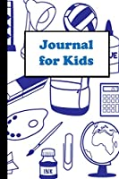 """Journal for kids: School Supply cover is a 6""""X9"""" blank line journal notebook with a 100 page interior."""