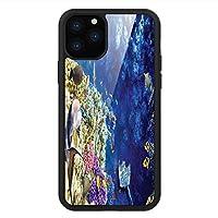 iPhone 11 Pro Max 用 強化ガラスケース クリア 薄型 耐衝撃 黒 カバーケース 海 手つかずの海の世界 iPhone 11 Pro 2019用 iPhone11 Pro Maxケース用