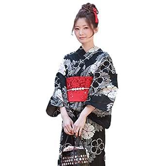 〔zu〕高級変わり織り綿麻浴衣3点セット「黒地に格子なでしこと八重桜」 着付け簡単 作り帯 浴衣 セット レディース