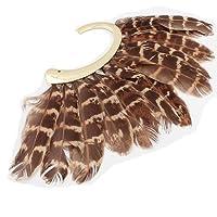 New Unique 大きな羽根のイヤーカフノンピアスゴールドイヤリング男女兼用左耳用1個 (WP-G-86)