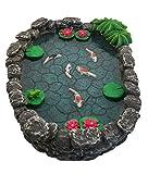 GlitZGlam KOI ミニチュア池 -フェアリーガーデン用鯉の池。製ミニチュアフェアリーガーデンと魔法の庭アクセサリー用ミニチュア池
