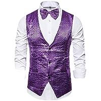 fanmeili Men's Glitter Sequins Single Breasted Waistcoat Costume Business Tie Vest