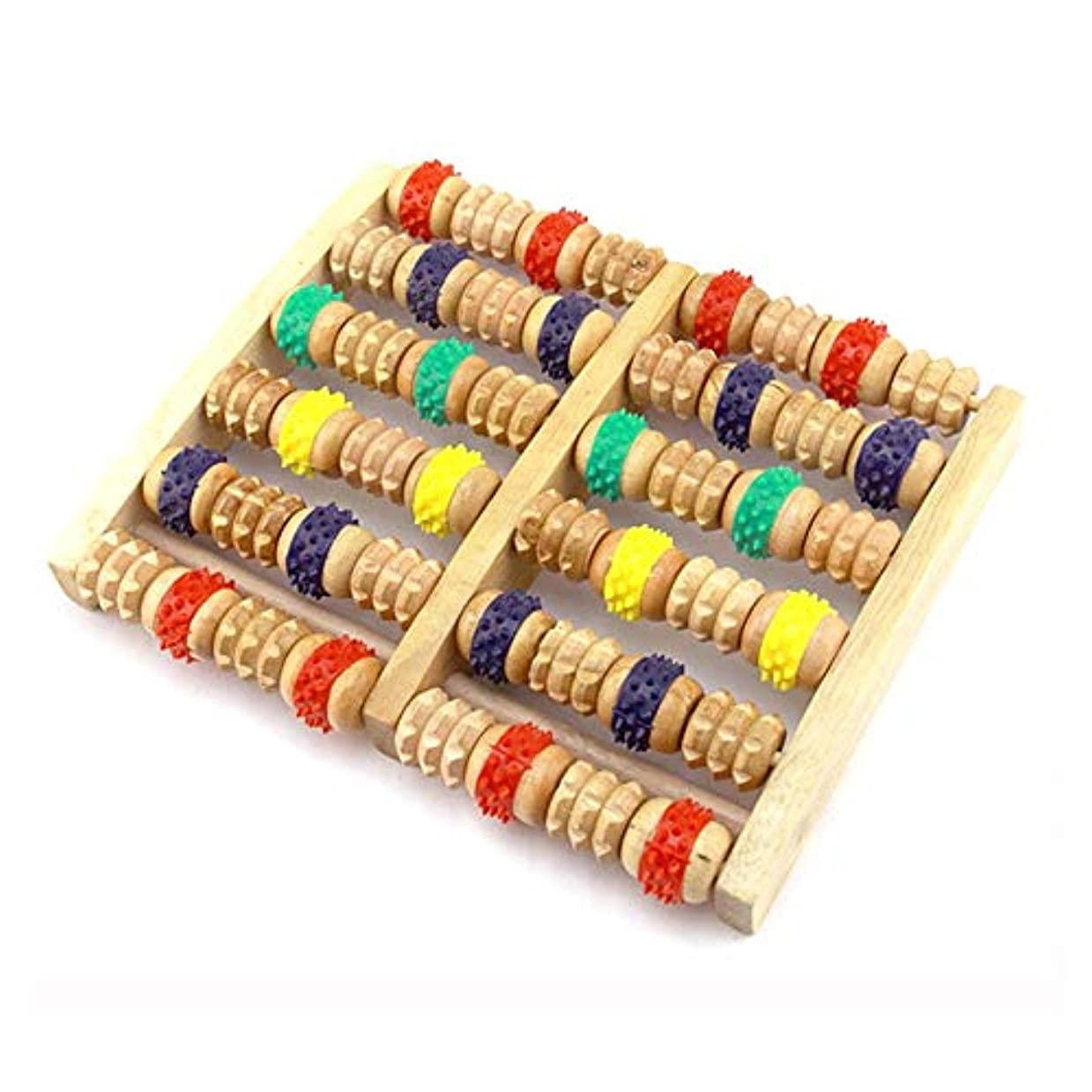 割り当て化石レンズ足裏マッサージローラー フットマッサージローラーデュアルマッサージローラーの木製フットマッサージャー色六行は、汎用性と簡単に使用することです 軽量で使いやすく、足の痛みを和らげます (Color : As picture, Size : 27x20.5x5cm)