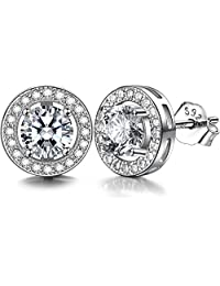 J.SHINE 925 Sterling Silver Stud Earrings for Women Men 3A 6mm Round Cut Cubic Zirconia Unisex Earrings