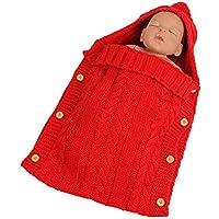 Aolvo スリープサック 新生児 赤ちゃん ラップ Swaddle 男女兼用 ブランケット ソフト キッズ 寝袋 ニット セーター ブランケット ウェアラブル 写真 ベビーカー ブランケット ボタンとフード付き 0~12ヶ月 (ピンク) レッド 6493708154634
