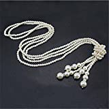 Amazon.co.jpExcellent.Advanced? 新しいファッション白い人工真珠のネックレス チャーム長いセーター チェーン