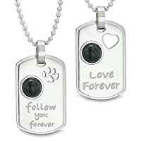 Love and Follow You Forever AmuletsハートウルフPawブラックオニキス陰陽カップルネックレス