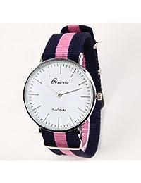 [ジェネーバ]Geneva クォーツ腕時計 らくらくベルトウォッチ 布ベルト 青ピンク青